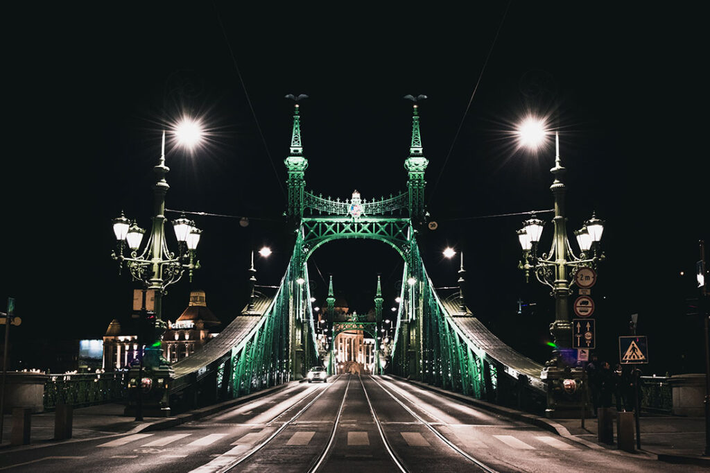 Bridge in Budapest Hungary at Night