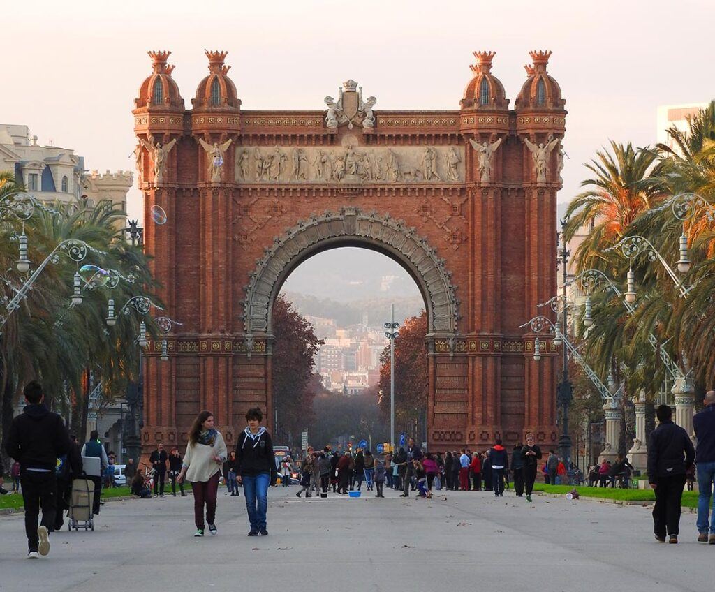 The Arc de Triomf in Eixample Barcelona Spain