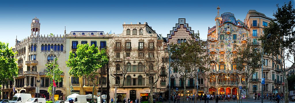 Modernist Buildings on the Illa de la Discordia on Passeig de Gracia in Barcelona