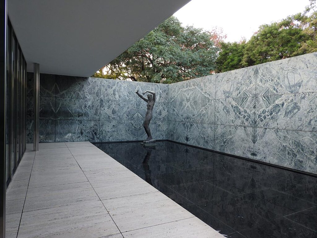 The Barcelona Pavilion, or Pavilion Mies van der Rohe, at the Base of Montjuic in Barcelona