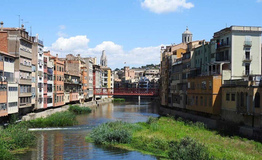 Many small bridges cross the river in Girona, Spain, an easy day trip from Barcelona.
