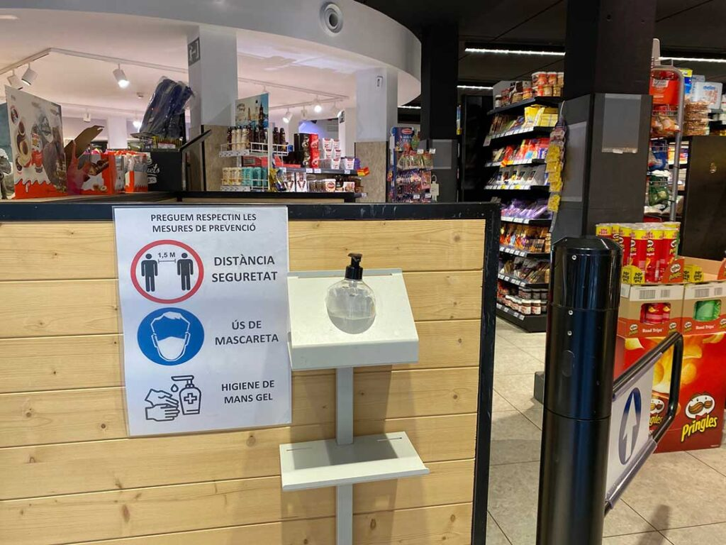 COVID Precautions in Spain in Summer 2021 include hand sanitizer and recommended distancing.