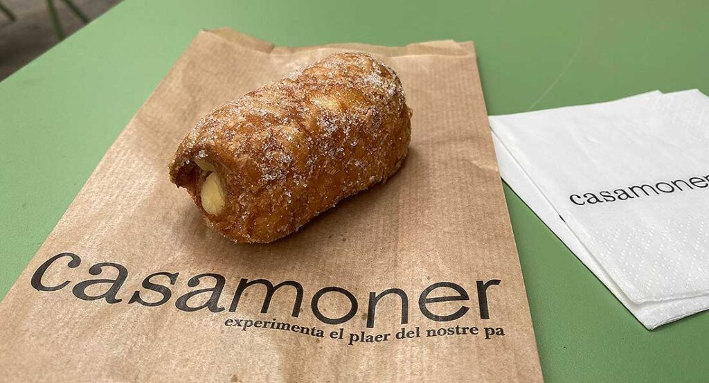 Xuixo, the typical pastry of Girona Spain, that you can taste on a day trip from Barcelona to the town on the Costa Brava