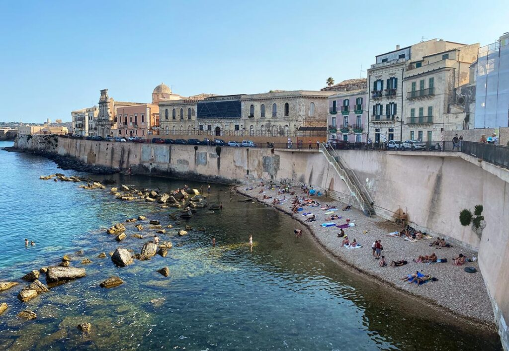 Beach in Ortigia, Siracusa   Sicily Itinerary By Bus and Train