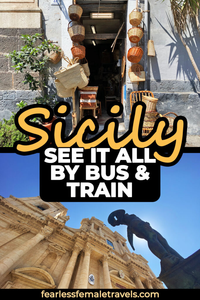 With this Sicily itinerary you can see it all by bus and train (no rental car required!). Explore beautiful beaches, ancient ruins, ornate churches and other hidden gems in Sicily, Italy!