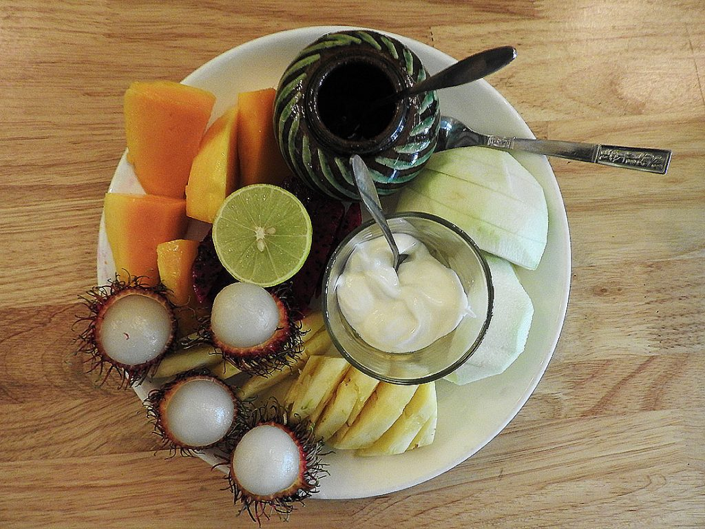Yangon Travel - Fruit Plate at Rangoon Tea House