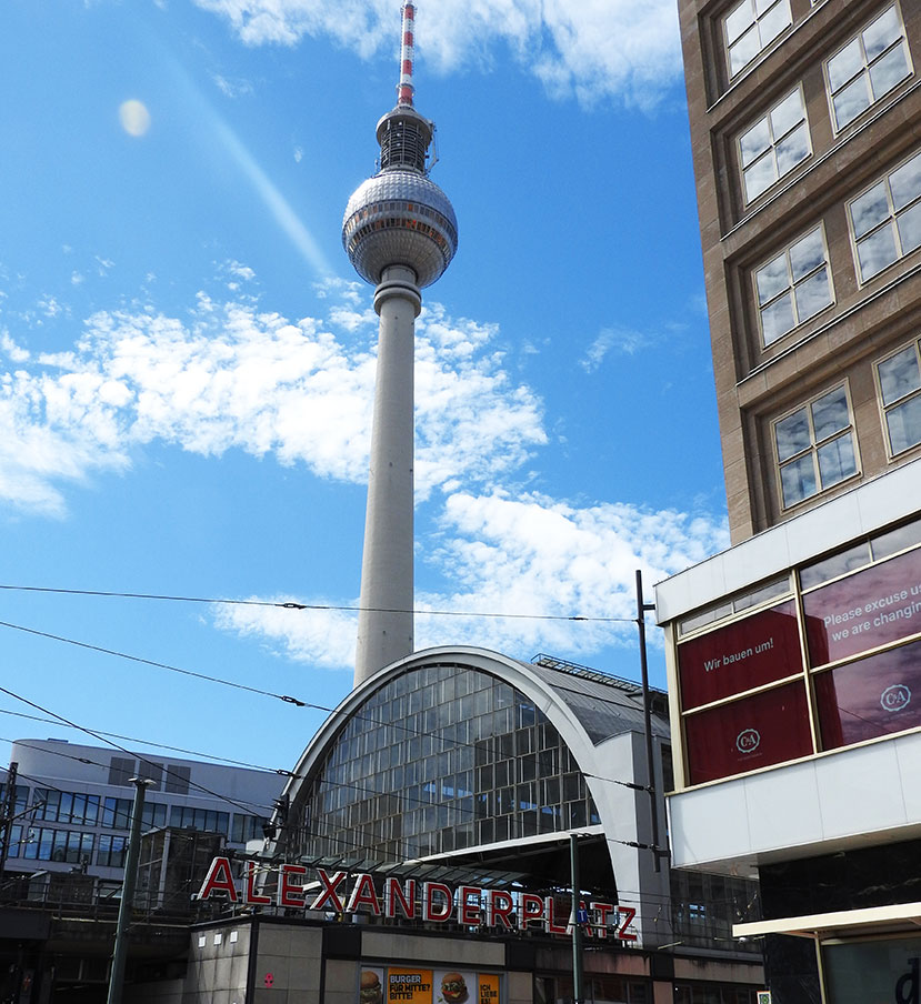 Berlin Sightseeing on Bus #100 at the TV Tower in Alexanderplatz