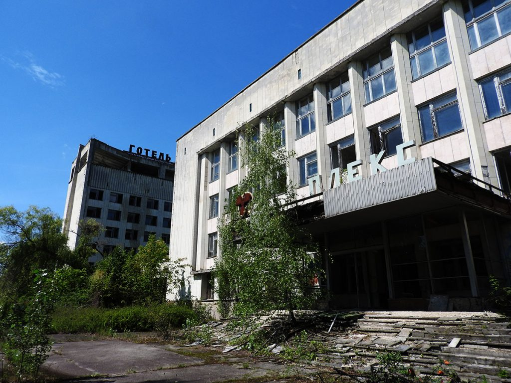 Exploring Pripyat Town Center on a Chernobyl Tour