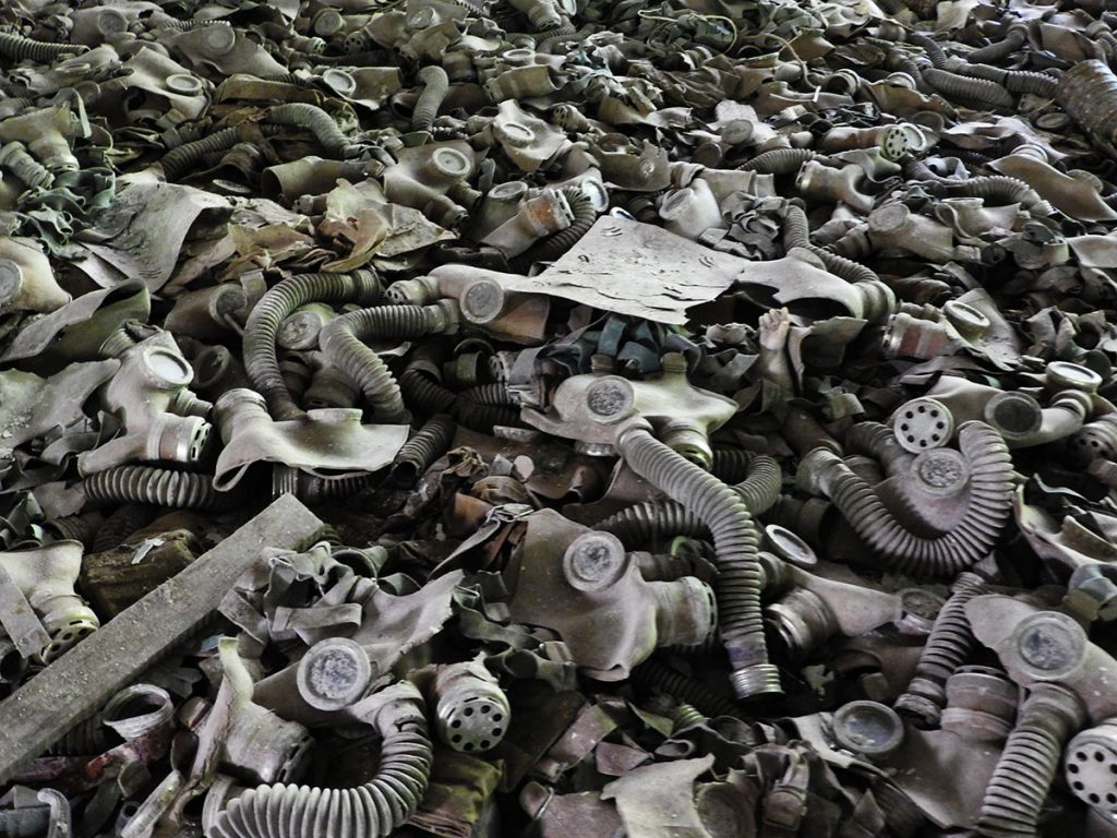 Forgotten Gas Masks in the Pripyat Grammar School - Chernobyl Tour