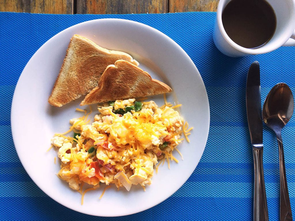 Eggs Scrambled with Vegetables at Cocolobo Hotel Roatan Honduras