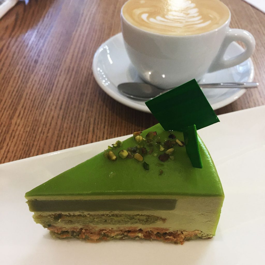 Pistachio Cake at Honey Cafe in Kiev