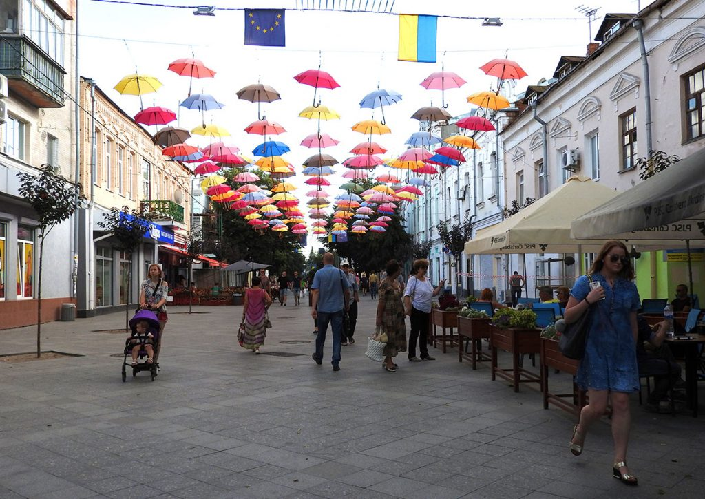 Pedestrian Streets in Downtown Zhytomyr, Ukraine