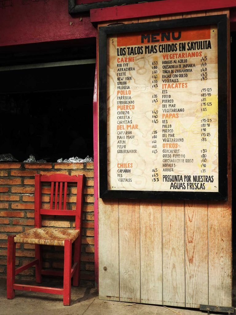 El Itacate Sayulita - Menu