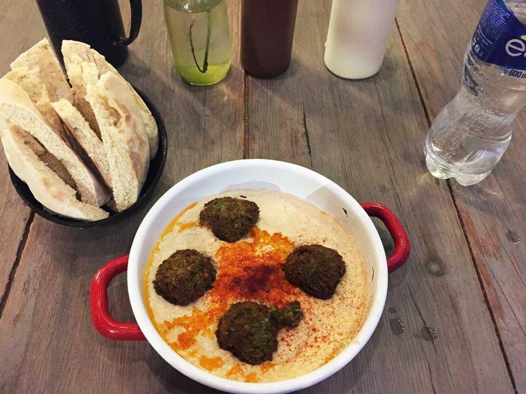 Hummus and Falafel at Falafel & Friends in Sayulita