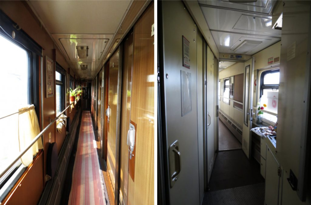 Hallways of a Kupe Wagon on the Trans-Siberian Express