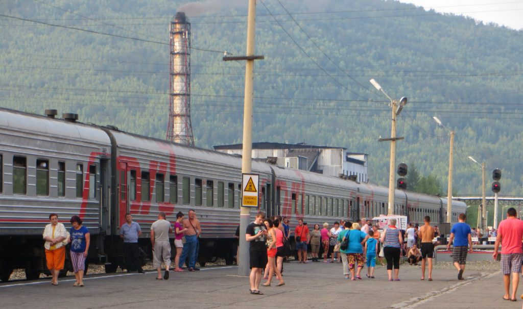 Stopping at a Station on the Trans-Siberian Railway