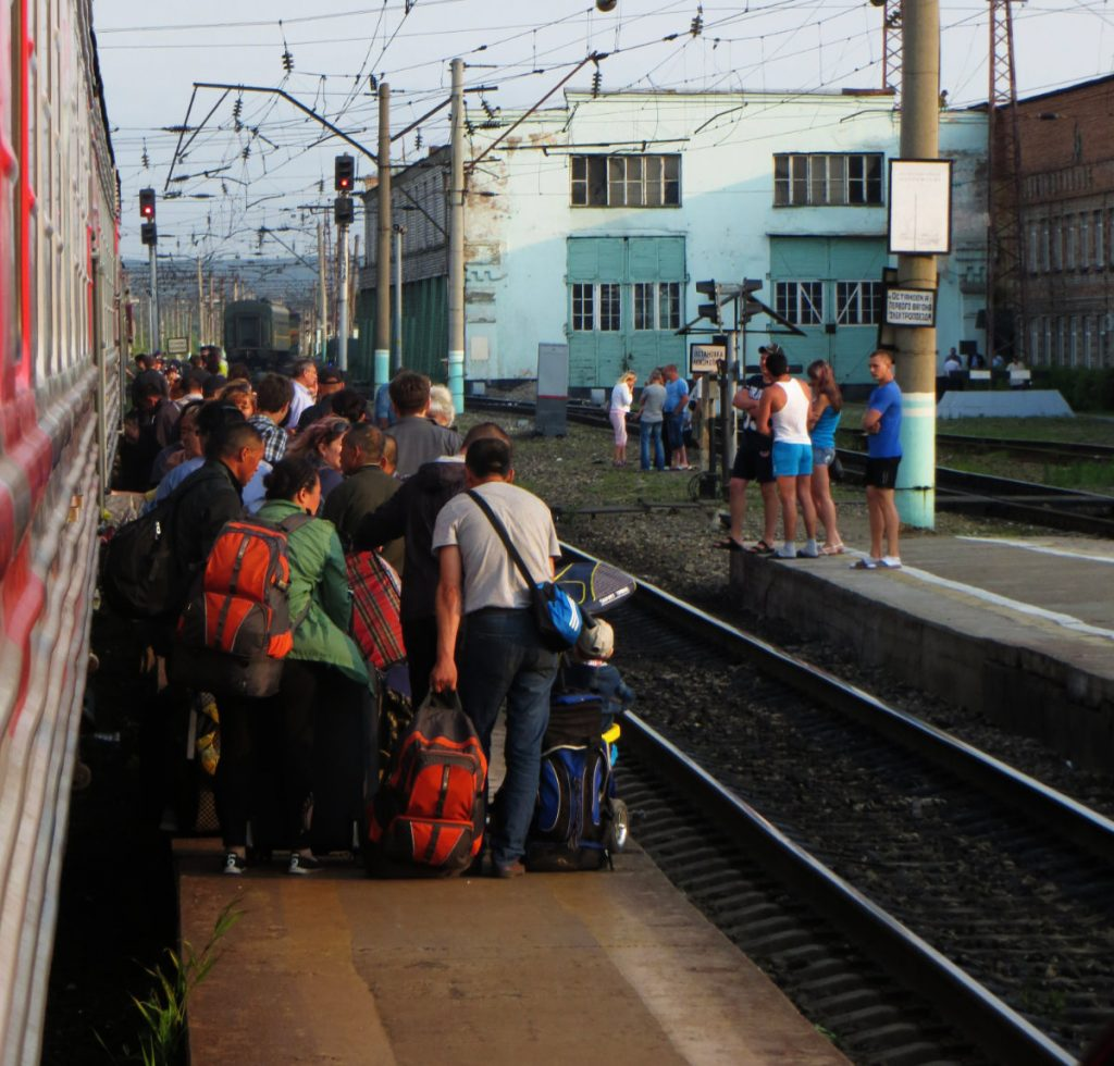 Crowds Waiting to Board Platzkart on the Trans-Siberian Railway
