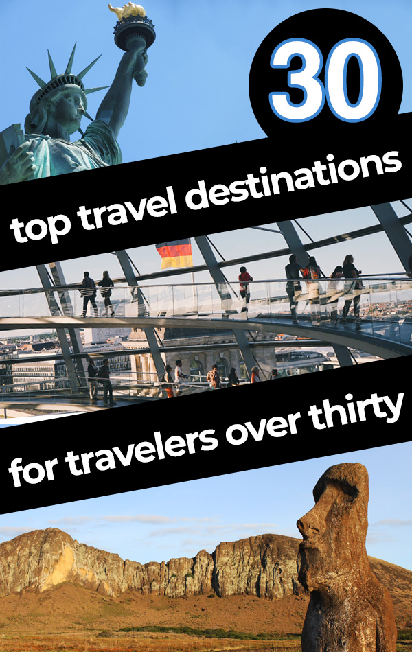 30 After 30 - These thirty travel destinations are ideal for travelers in their 30s, 40s, 50s or beyond! Put your experience, wisdom and confidence to the test in these global travel hotspots, all the way from New York to Berlin to Easter Island!