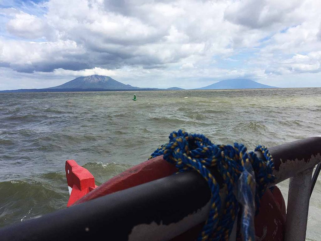Approaching Ometepe Island by Ferry from Rivas Nicaragua