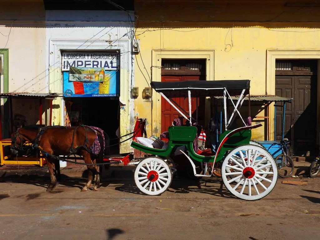 Nicaragua Travel - Horse and Carriage at the Municipal Market in Granada