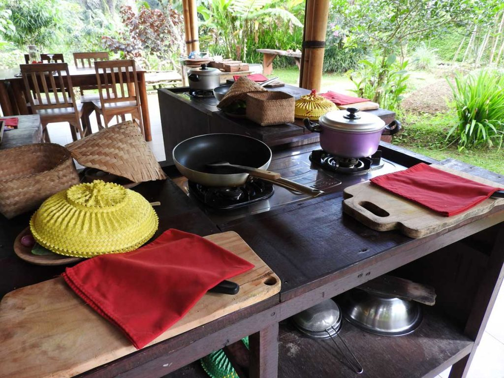 Our Cooking Station at the Ubud Cooking Class on Pemulan Farm
