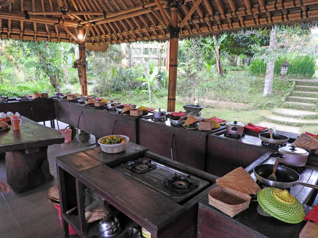 Cooking Stations at the Ubud Cooking Class on an Organic Farm