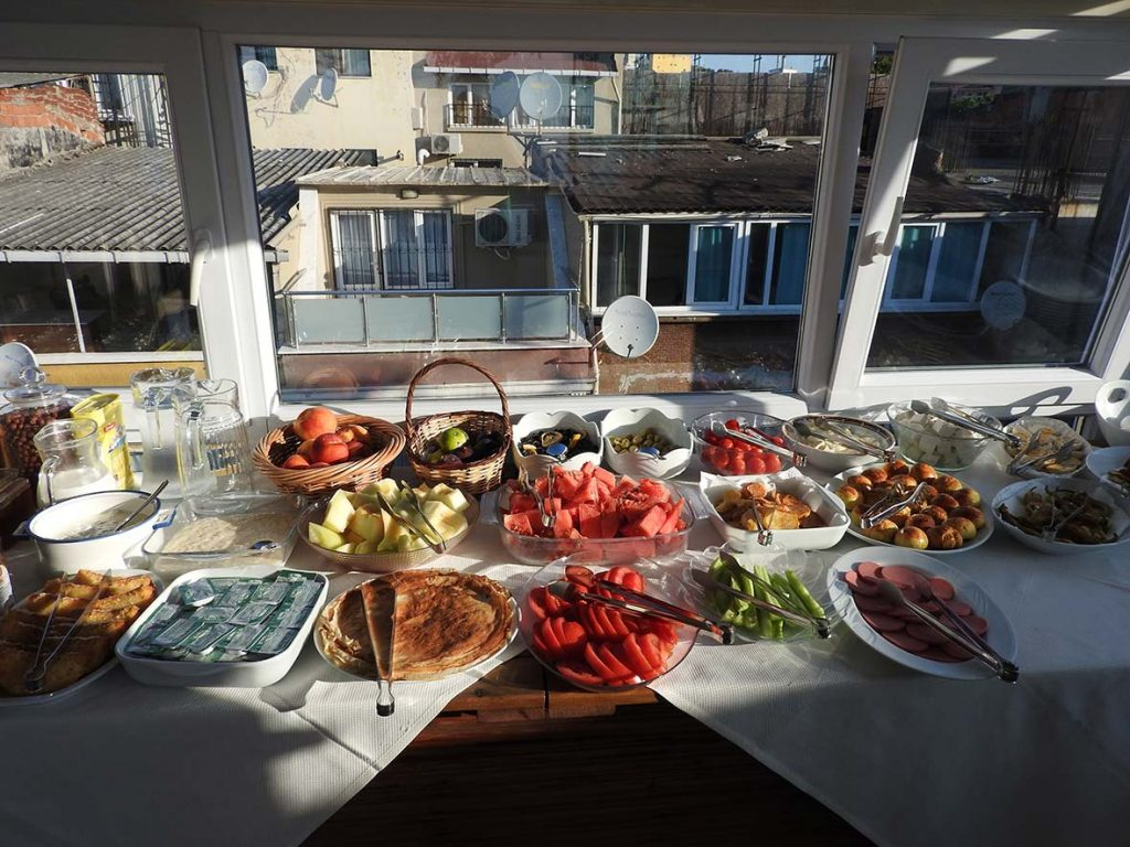 Turkish Breakfast at Hotel Buhara Family Inn, Istanbul