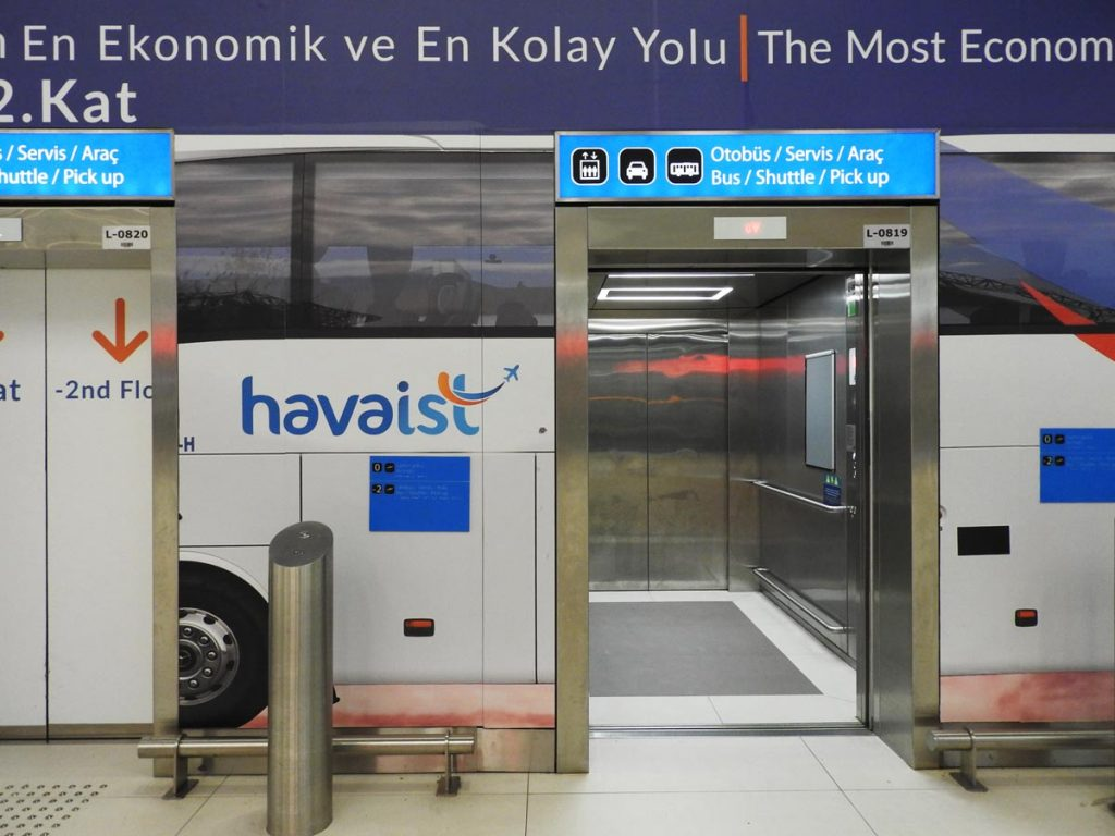 Elevator to HAVAIST buses at the new Istanbul airport.