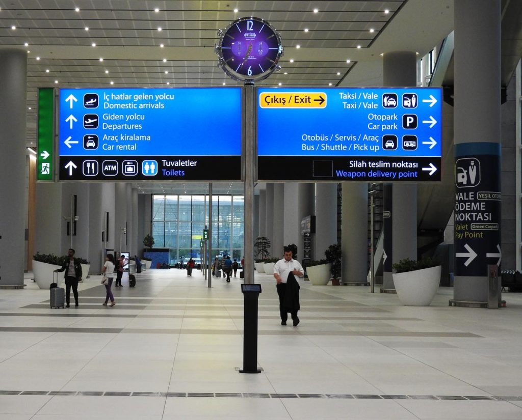 Signs in the Istanbul Airport - Airport Buses on the Right