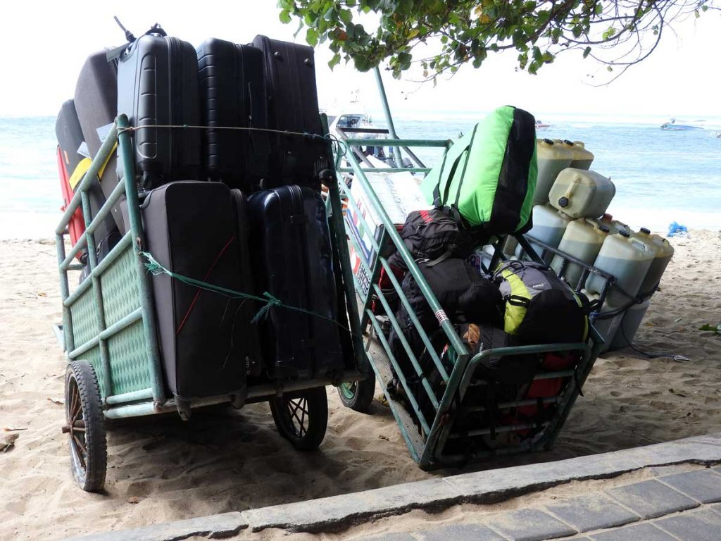 Luggage on the Boats from Sanur to Nusa Lembongan