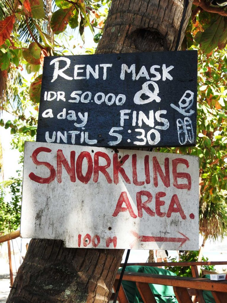 Rent Snorkel Gear on Gili Air