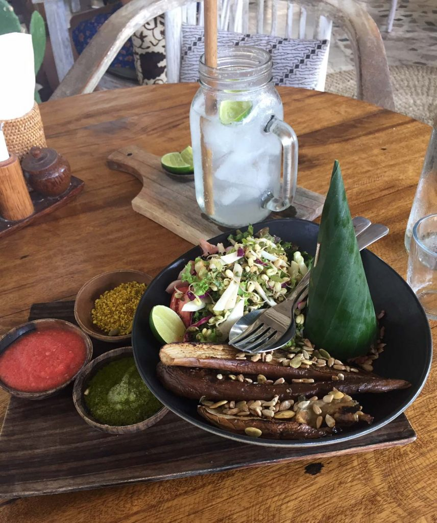 Roasted Eggplant Bowl at Pachamama on Gili Air, Indonesia