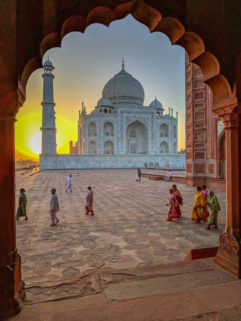 Taj Mahal Sunrise Through an Arch