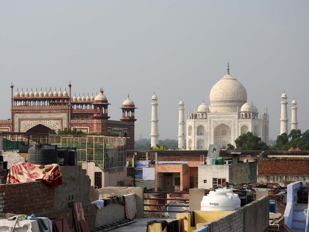 View of the Taj Mahal from Joey's Hostel in Agra