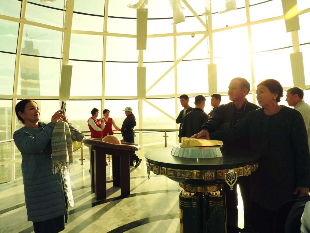 Inside Bayterek Tower in Nur-Sultan