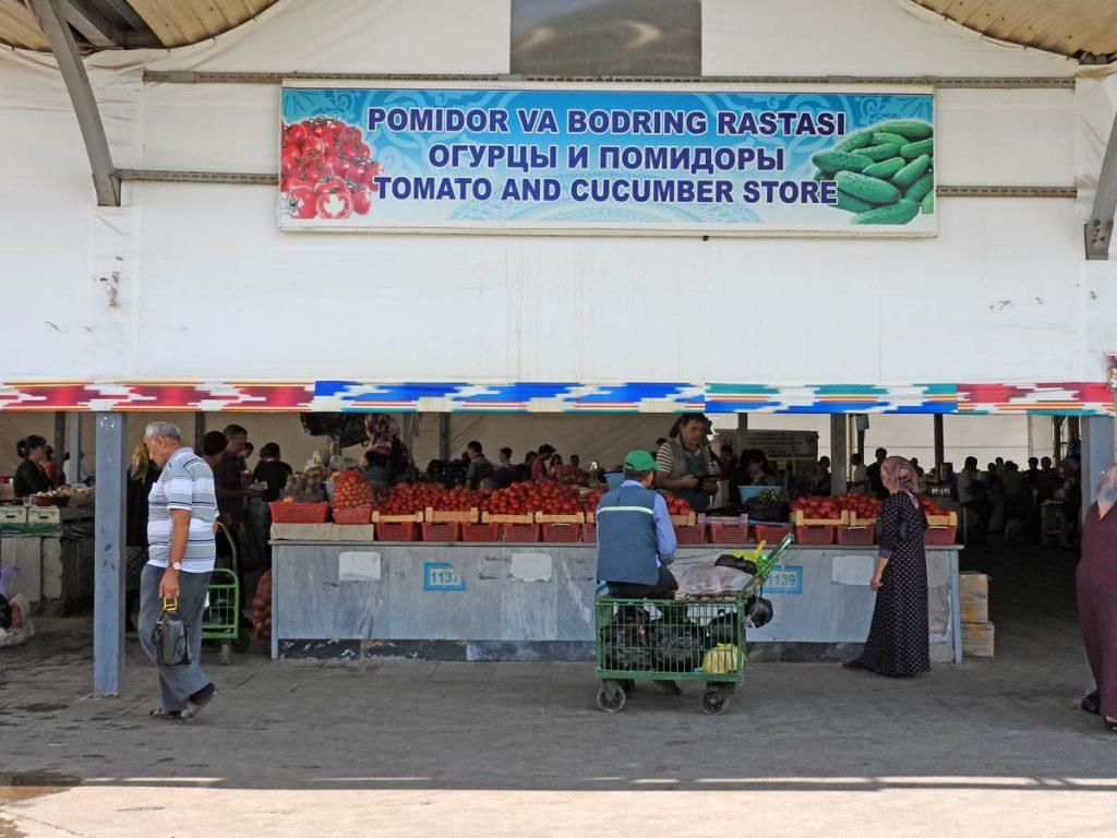 Market in Tashkent - Tomato and Cucumber Store