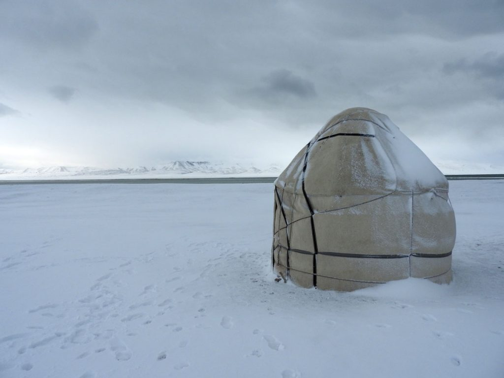 Yurt in the Snow in Central Asia