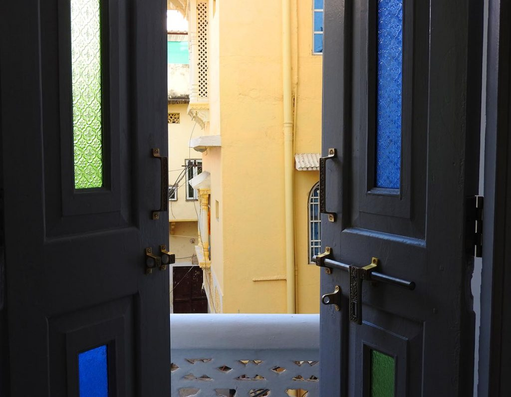 Balcony Doors at a Hostel in India