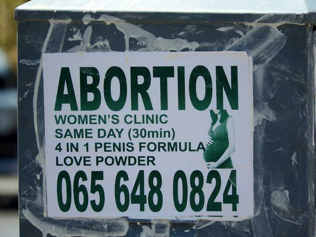 Advertisement for Abortion Services in South Africa
