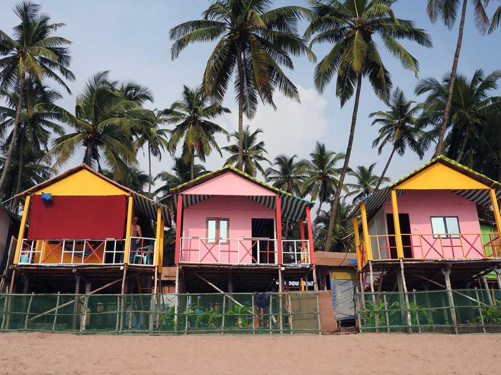 Beach Huts on Palolem Beach in Goa, India