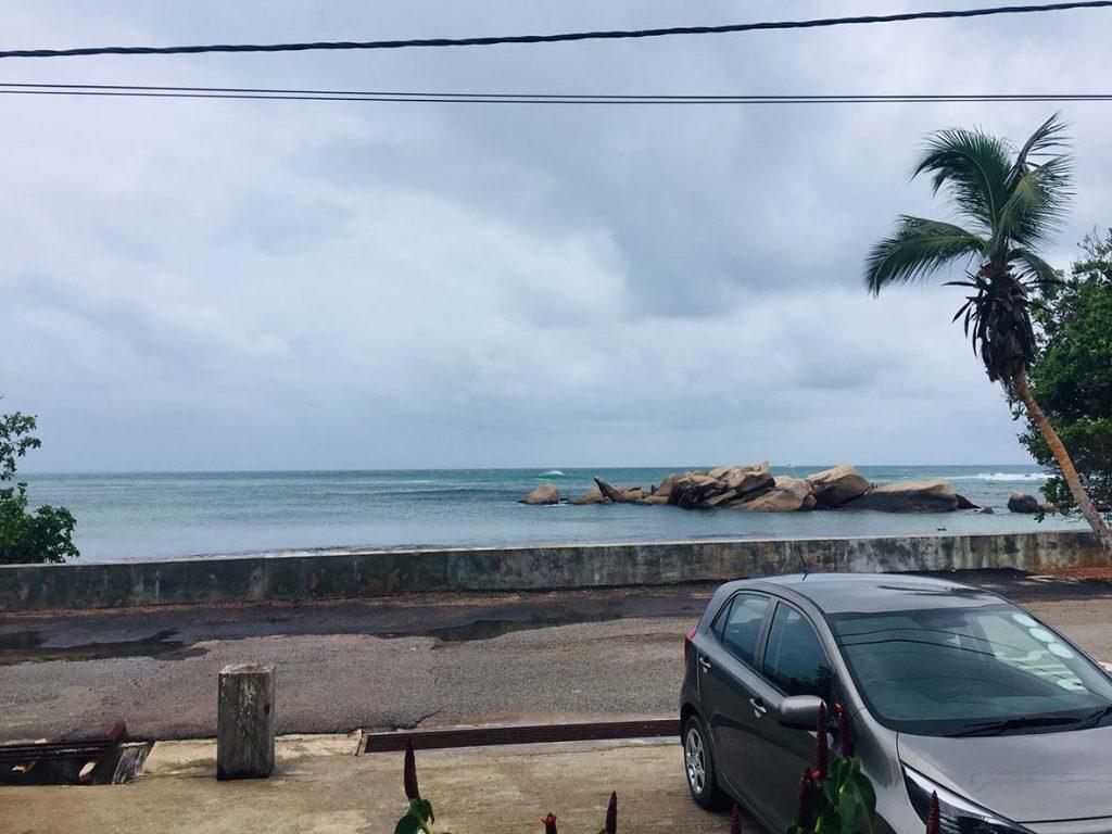 My Rental Car in the Seychelles (in the Rain)