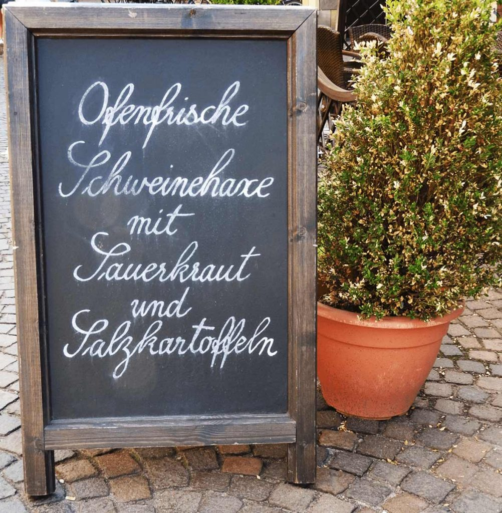 German Menu in Frankfurt Germany