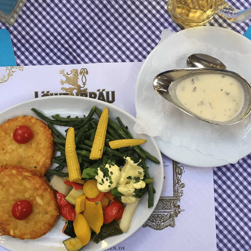 Vegetarian Food in Germany - Potato Pancakes with Vegetables and Cream Sauce